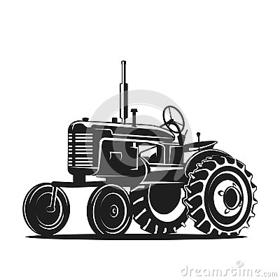 Free Black Old Tractor Silhouette On White Background Royalty Free Stock Image - 95965046