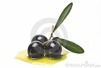 Black olives covered in oil