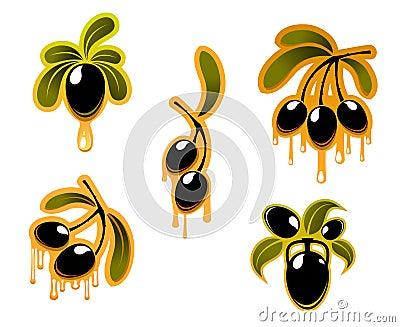 Black olives symbols set