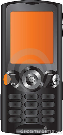 Black and orange mobile phone