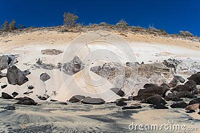 Black Orange White Sand Rock Landscape