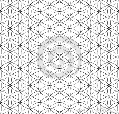Free Black Outline Flower Of Life Sacred Geometry Pattern Stock Photos - 66344893