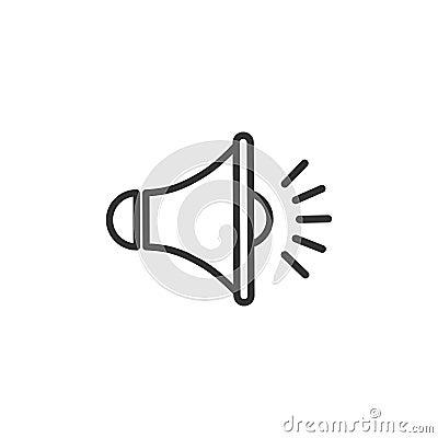 Free Black Outline Megaphone On White Background. Flat Simple Loudspeaker Icon. Royalty Free Stock Photos - 108025848