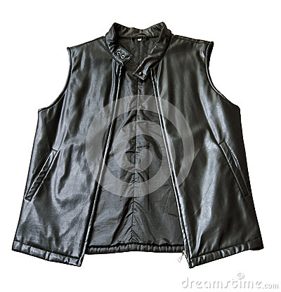 A black padded leather jacket without sleeves