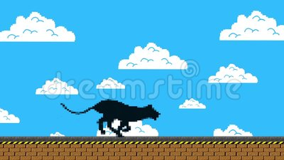 Black Panther Running in an Old Video Game Arcade Style stock video footage