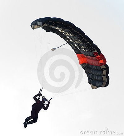 Black parachute flying