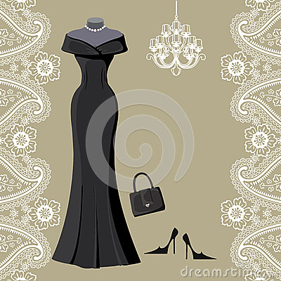 Free Black Party Dress With Chandelier And Paisley Border Stock Photo - 42553990