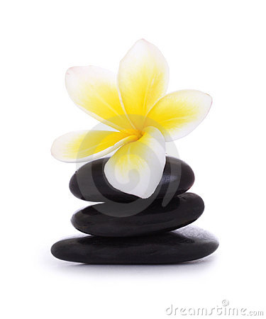 Black pebbles and frangipani