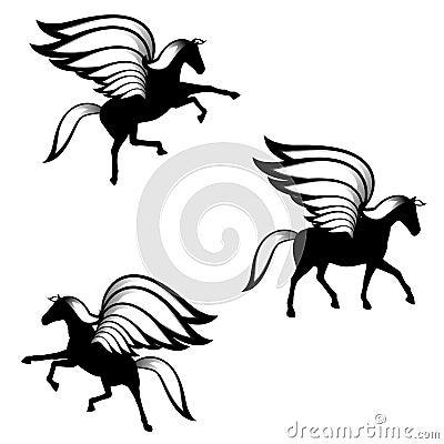 Black Pegasus Winged Horses Silhouettes