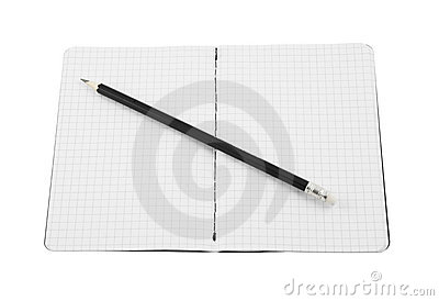 Black pencil and blank note pad