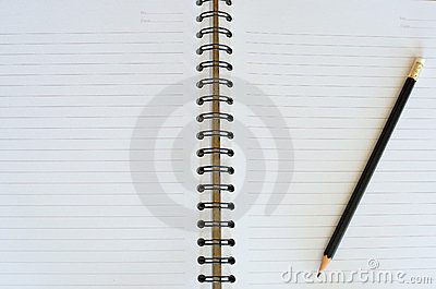 Black pencil on white note book