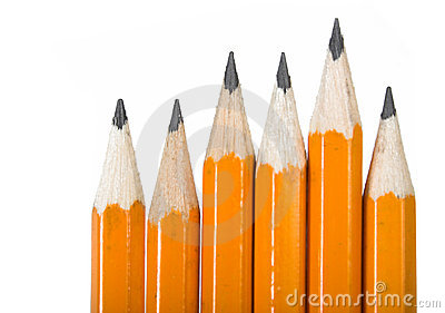 Black pencils over white