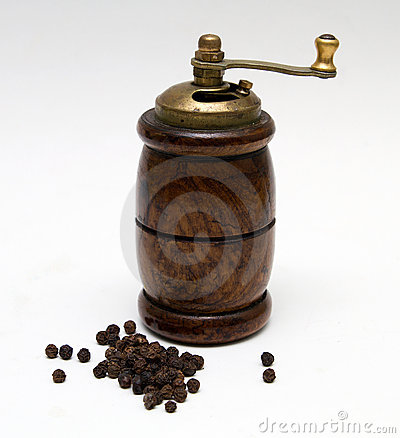 Black pepper with a mill
