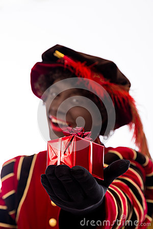 Black Pete showing gift