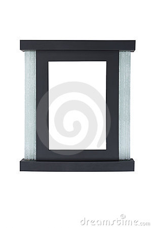 Black picture frame with glass  decoration