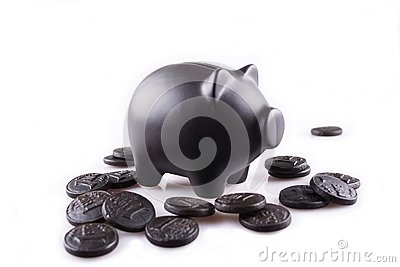 Black piggy bank with black money