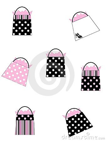 Black & Pink Shopping Bags Background