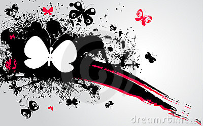 Black, pink stain and butterflies