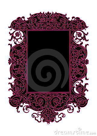 Black and pink vintage vector scroll swirl frame