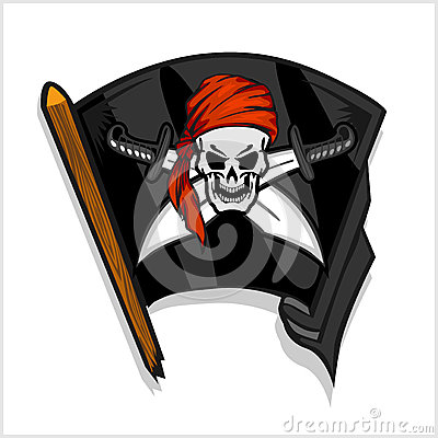 Free Black Pirate Flag With Skull And Cross Swords Royalty Free Stock Images - 62429149