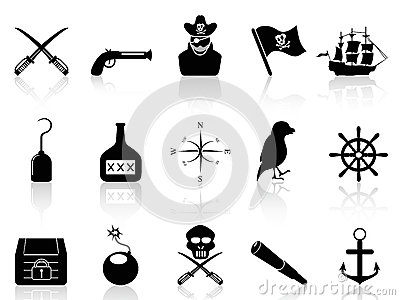 Black pirate icons set