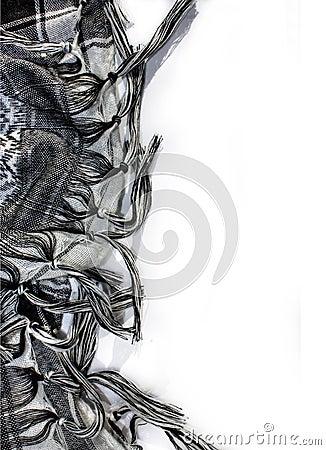Black Plaid Scarf Fringe