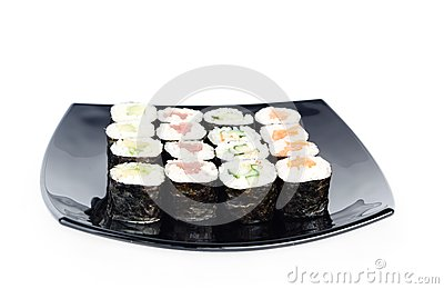 Black plate of sushi