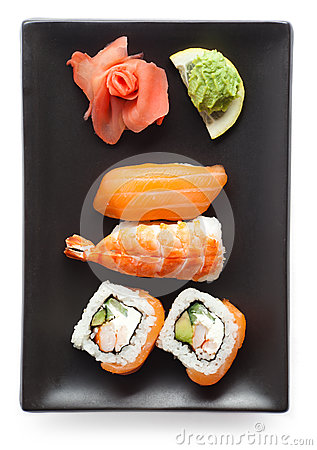 Black plate with sushi