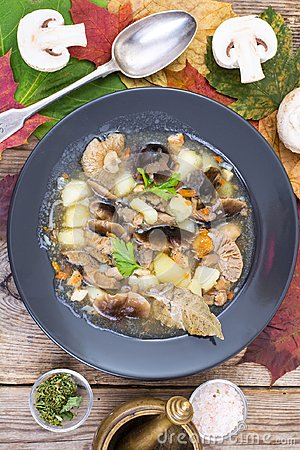 Free Black Plate With Wild Mushroom Soup Royalty Free Stock Photography - 102356487