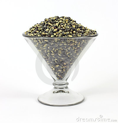 Black popcorn in a large martini shaped glass