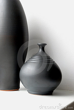 Black pottery vases