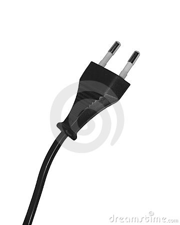 Black power cord and plug
