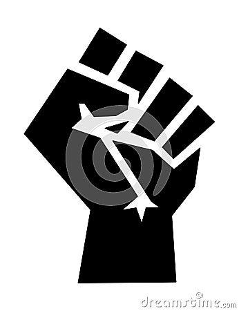 Black power fist symbol icon Cartoon Illustration