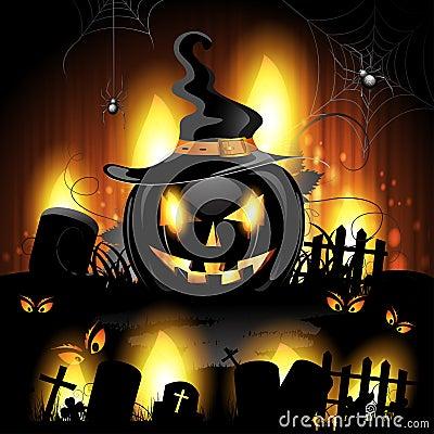 Free Black Pumpkin In Cemetery Royalty Free Stock Photos - 26265408