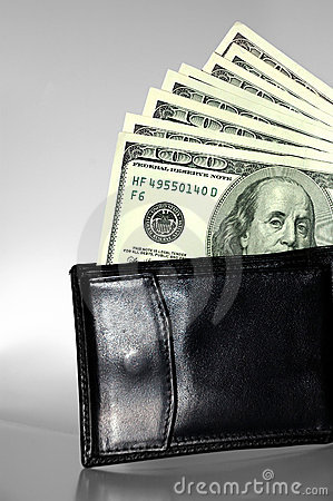 Black purse with dollars