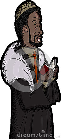 Black Rabbi Praying