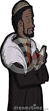 Black Rabbi Praying