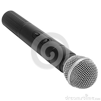 Black radio microphone isolated on white