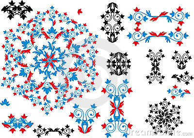 Black, red and blue ornamental elements collection