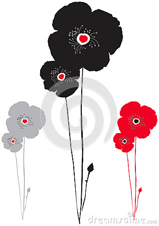 Black, red and grey poppy