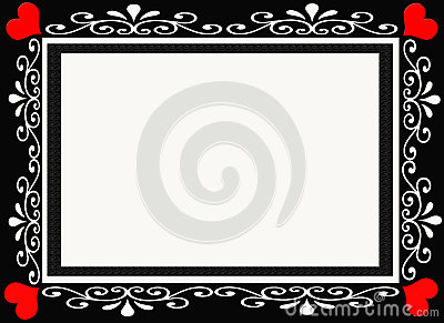 Black and Red Heart Designer Frame Border