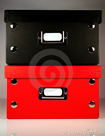 Black and Red office boxes with blank label