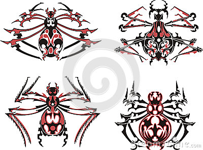 Black and red symmetric spider tattoos