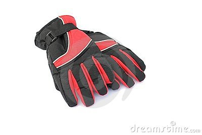 Black and red winter gloves