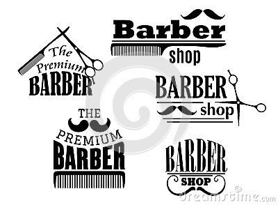 Black retro barber shop icons, emblems or logos with moustache, combs ...