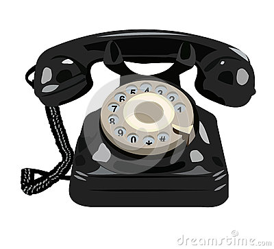 Black retro phone isolated