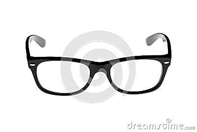 Black rimmed retro glasses isolated on white