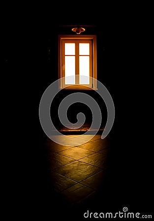 Black room, mysterious window light
