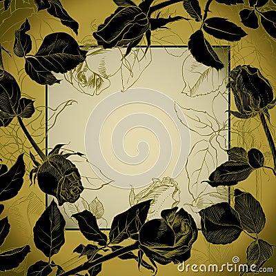 Black roses frame