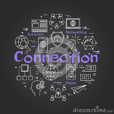 Free Black Round CONNECTION Concept With Line Icons Stock Photo - 133564380